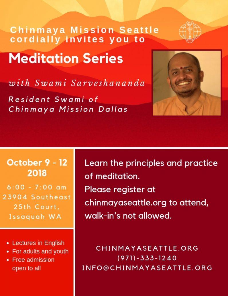 Swami Sarveshananda Meditation Series @ Issaquah | Washington | United States